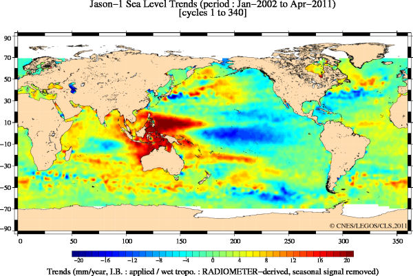 Jason satellite sea level trend